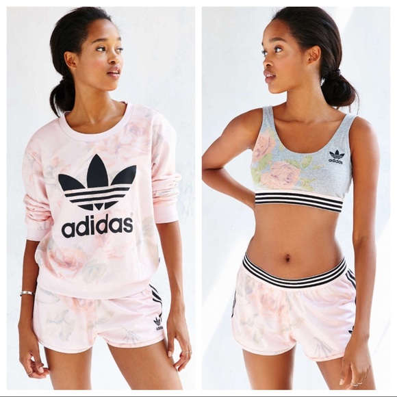18231cfdfe adidas Tops - ADIDAS 3 PIECE PASTEL ROSE SHORTS OUTFIT